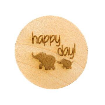 Houten knoop 3cm Happy day