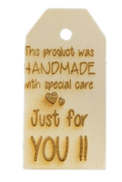 Houten label Handmade with special care 6x3 cm