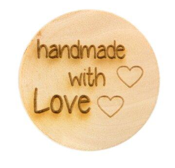 Houten knoop 3.5cm Handmade with love
