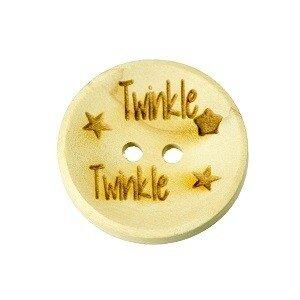 Houten knoop 2,5 cm Twinkle twinkle