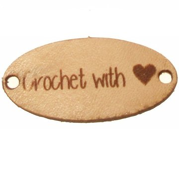 Leren label 3cm Crochet with love