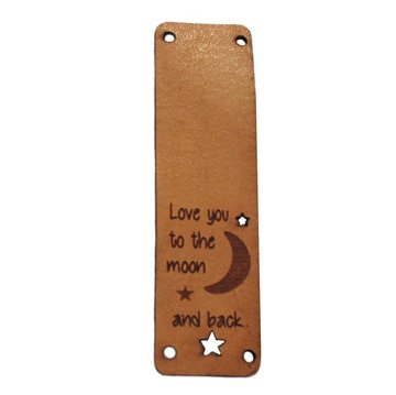 Leren label 7x2cm Love you to the moon and back