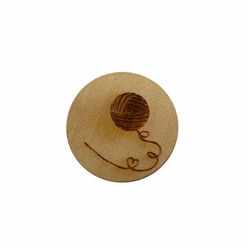 Houten knoop 2cm Bolletje wol