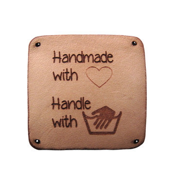 Leren label 3x3cm Handmade with love Handle with care