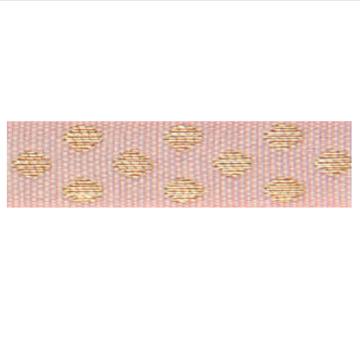 Lint roze/goud dots 2 meter