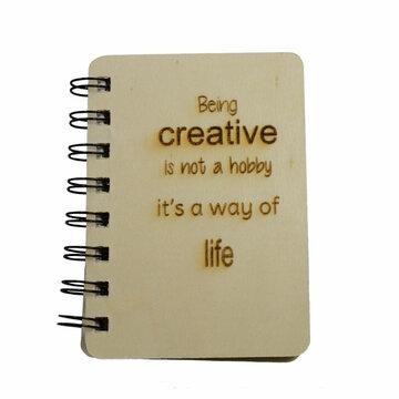 Notitieboekje met houten kaft Being Creative is not a hobby