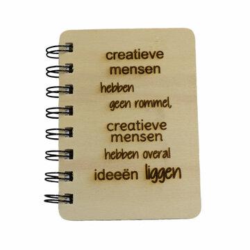 Notitieboekje met houten kaft Creatieve mensen hebben