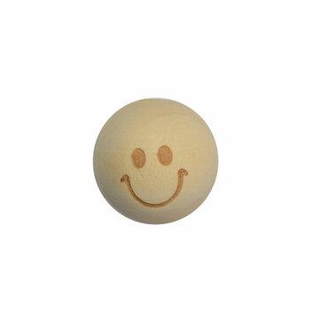 Houten kraal met gezichtje 20 mm