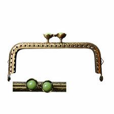 Portemonnee sluiting 10,5cm brons met bloemknop in groen