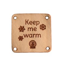 Leren label 3x3cm Keep me warm