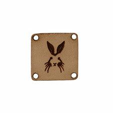 Leren label 2x2cm konijn
