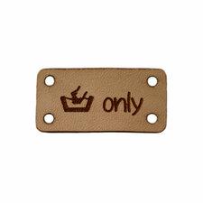 Leren label 3x1,5 cm Handwash (symbool) only