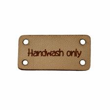 Leren label 3x1,5 cm Handwash only