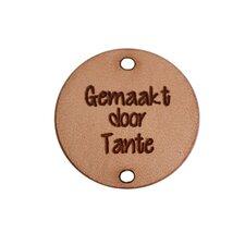 Leren label 2,5cm Gemaakt door Tante
