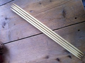 Bamboe breinaalden zonder knop 4-6 mm, 20cm