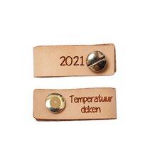 Leren label 4,5x1,5 cm Temperatuurdeken met schroef 2021