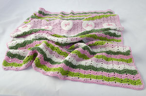 Patroon babydekentje hartjes + 7 bollen katoen roze