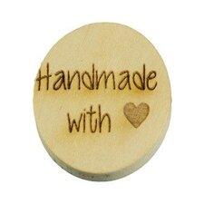 Houten knoop 2cm Handmade with love