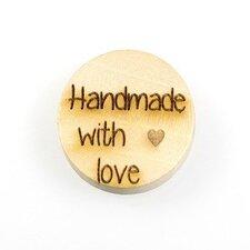 Houten knoop 2.5cm Handmade with love