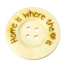 Houten knoop 4cm Home is where the heart is