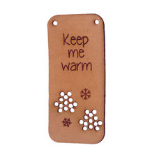 Leren label 7x3cm Keep me warm