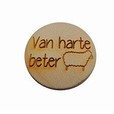 Houten knoop 3cm Van harte beterSchaap