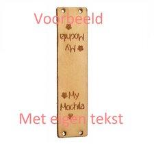 Leren labels rechthoek 7x2 cm met eigen tekst, type B