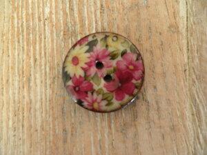Houten knoop met bloemprint 3cm