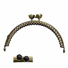 Portemonnee sluiting 10,5cm brons met bloemknop in zwart
