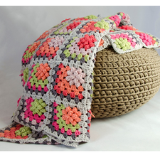 Haakpatroon granny square plaid