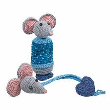 Haakpakket rammelaar en speenkoord muis Oscar