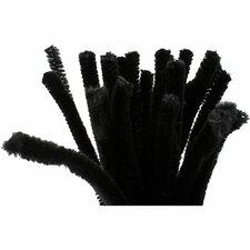 Chenille draad, 9mm dik zwart