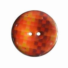 Houten knoop met ruitprint oranje/bruin 4cm