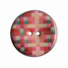 Houten knoop met ruitprint roze/paars/groen 4cm