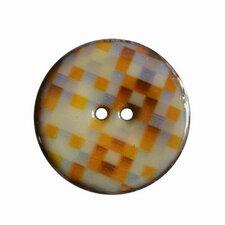 Houten knoop met ruitprint oranje/blauw/bruin 4cm