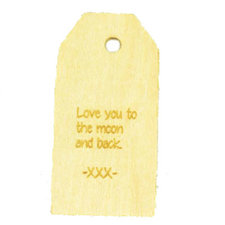 Houten label Love you to the moon and back 6x3 cm