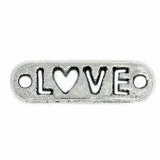 Bedel Love uitgestanst hartje antiek zilver