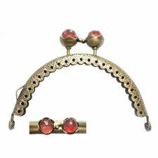 Portemonnee sluiting 8,5cm brons met knop in rood