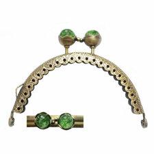 Portemonnee sluiting 8,5cm brons met knop in groen