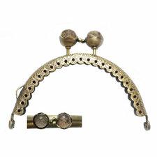 Portemonnee sluiting 8,5cm brons met knop in brons