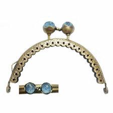 Portemonnee sluiting 8,5cm brons met knop in blauw