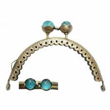 Portemonnee sluiting 8,5cm brons met knop in turquoise