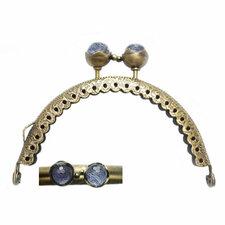 Portemonnee sluiting 8,5cm brons met knop in paars