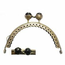 Portemonnee sluiting 8,5cm brons met knop in zwart