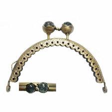 Portemonnee sluiting 8,5cm brons met knop in grijs