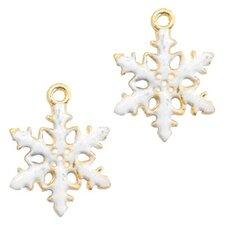 Bedel sneeuwvlokje goud/wit