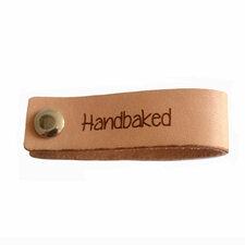 Leren label 7x2 cm Handbaked met schroef