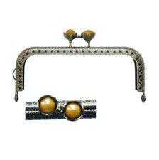 Portemonnee sluiting 10,5cm brons met bloemknop in oker