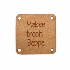 Leren label 2,5x2,5 cm Makke troch Beppe