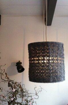 Patroon +frame lampenkap +snoer+ 2 bollen Stonewashed